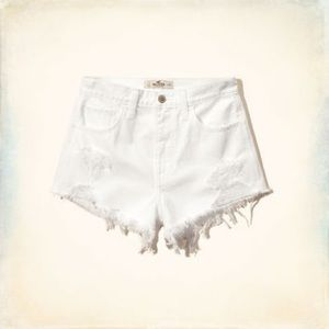 White Ripped High Rise Hollister Shorts
